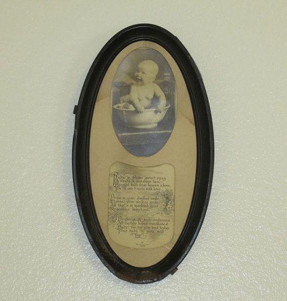 Antique Nursery Room Metal Oval Framed Baby Postcard by Alveta ... ff09263d065b