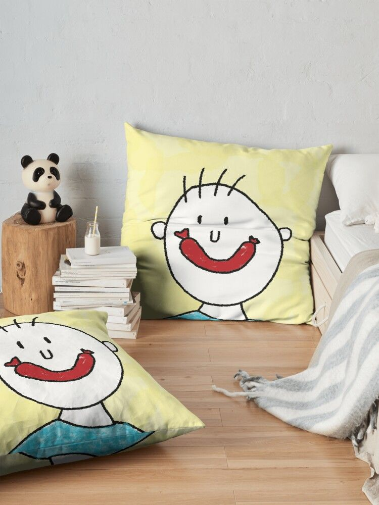 Cute floor pillow with funny sausage face illustration #hygge #kissen #wohnen