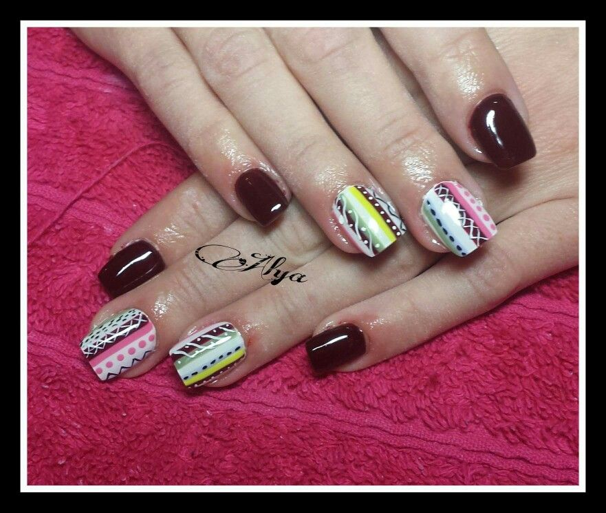 Handpainted ethnic fusion tribal style on dark red burgundy square gel nails