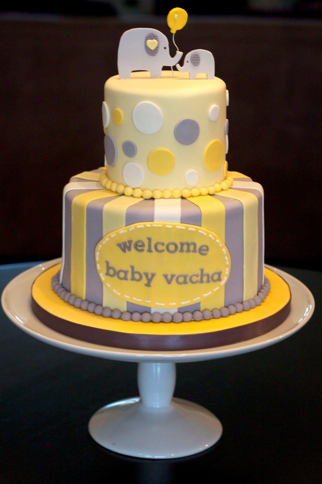 Yellow Grey Baby Shower Cake