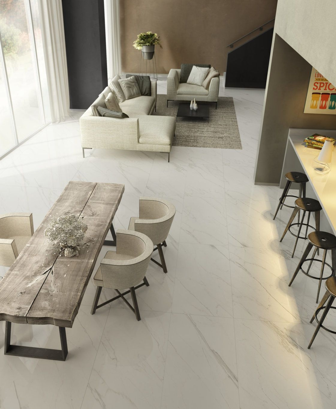 Love How These Large Slabs Of Marble Look Ceramic Tile Unify An Open Floor Plan Whytile Marble Living Room Floor Dining Room Floor Tile Floor Living Room