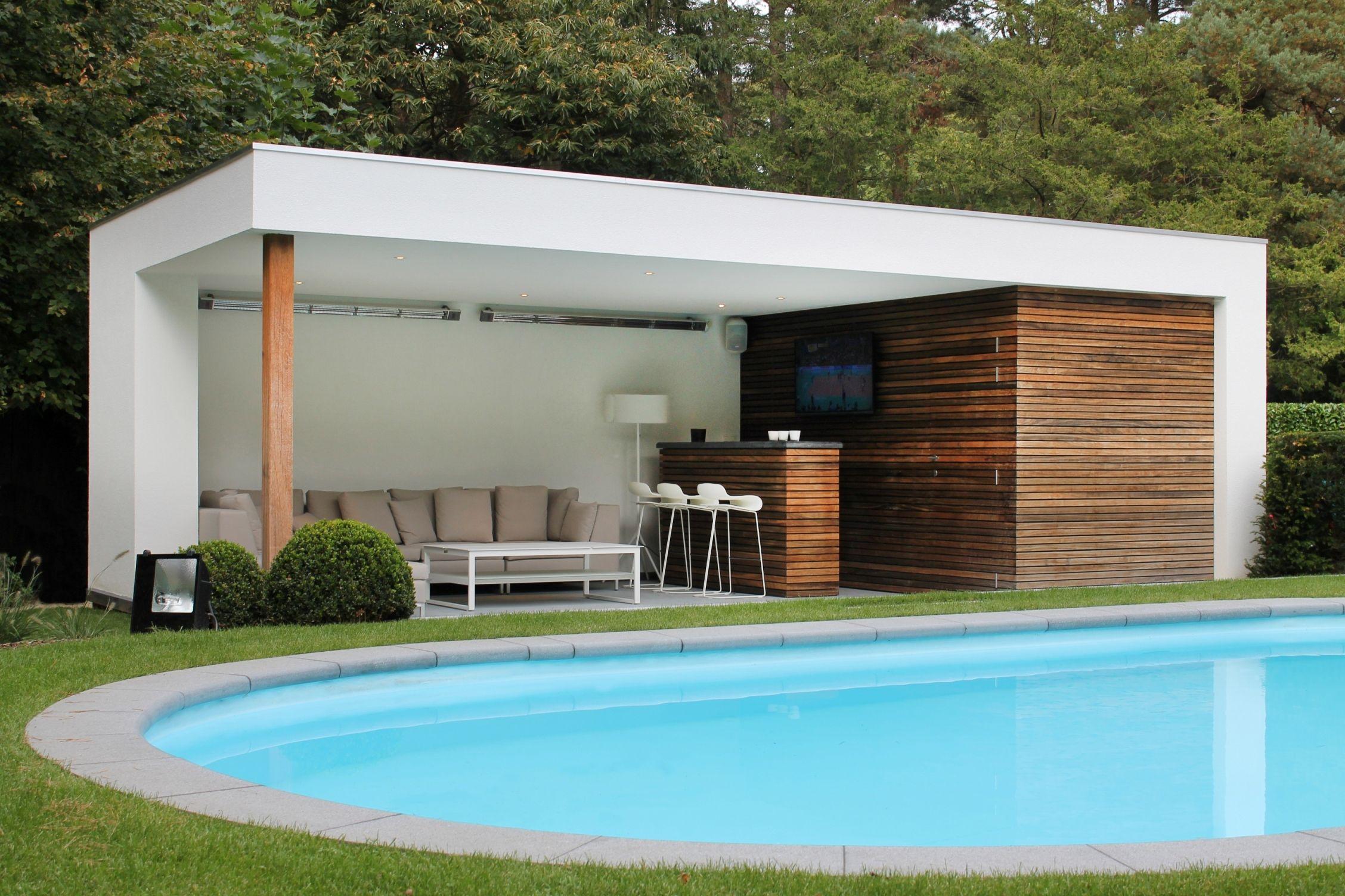Moderne Poolhouse In Hout En Cr Pi - Bogarden -