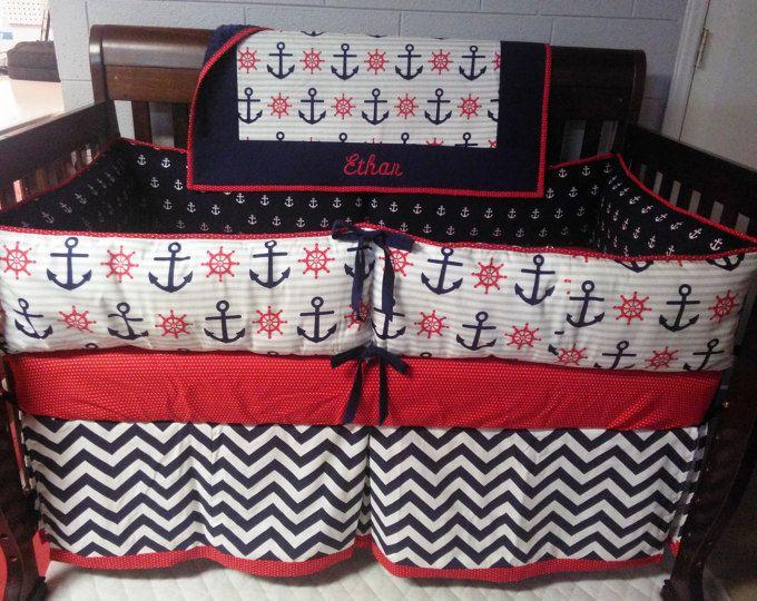 Nautical Baby Bedding Crib Red White