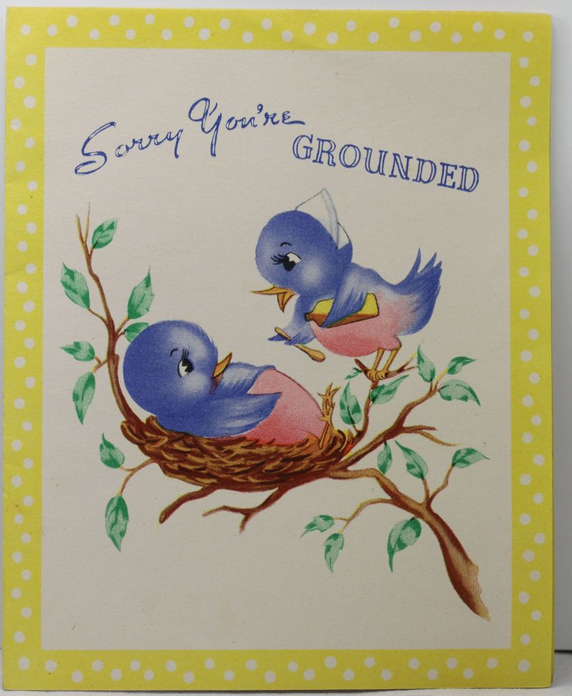 Vintage Sorry Youre Grounded Get Well Greeting Card With A