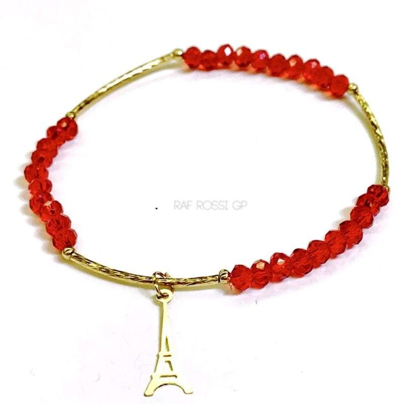 Eiffel Tower Red Crystal Bracelet