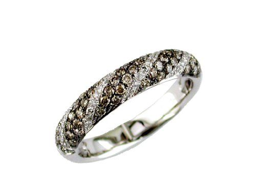 Ladies Diamond  Brown Diamond Ring in 14K White Gold (TCW .70)., Size 6.5 -