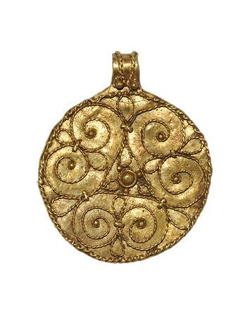 "VIKING GOLD PENDANT WITH TRISKELE, 9th-11th c. A discoid pendant with integral suspension loop; filigree decoration of radiating volute scrolls with granule finials, central granule with a collar; filigree and granules to the loop. 1 1/4"" (scheduled via http://www.tailwindapp.com?utm_source=pinterest&utm_medium=twpin&utm_content=post158465547&utm_campaign=scheduler_attribution)"