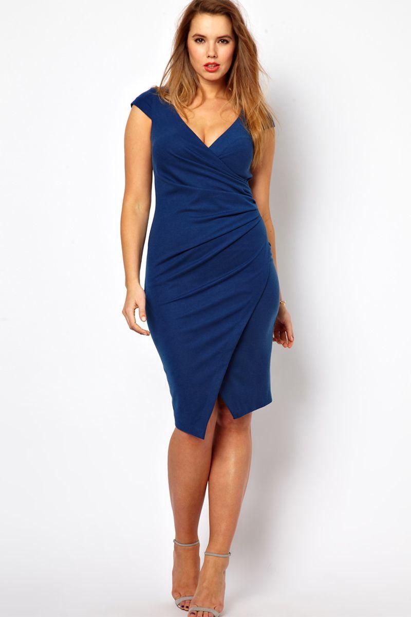 Nice Royal Blue Elastic Woven Satin KneeLength Plus Size