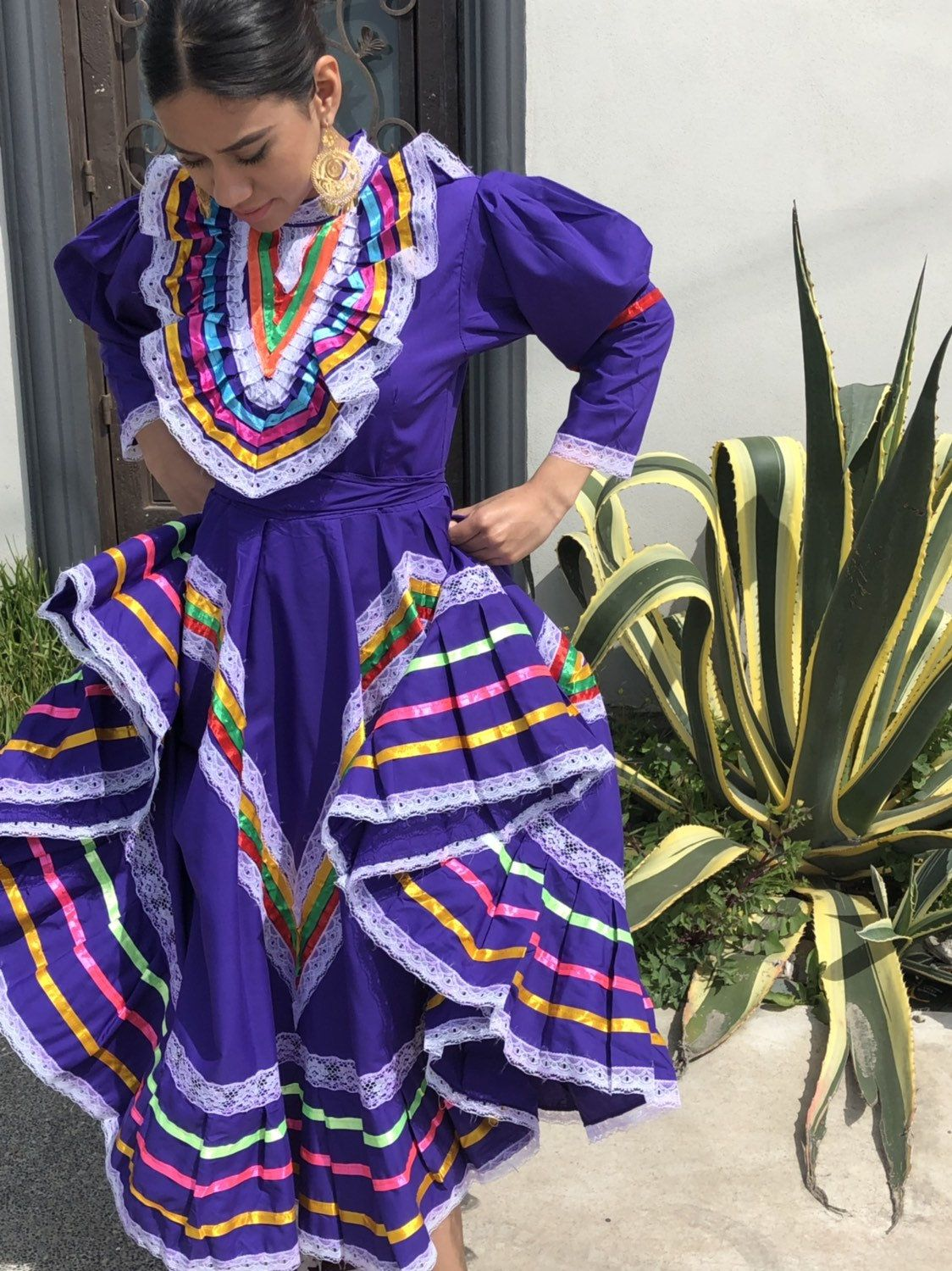 Mexican Jalisco Dress Size 12 Purple Stunning Kids Size 12 Etsy Jalisco Dress Frida Kahlo Style Traditional Mexican Dress [ 1500 x 1124 Pixel ]