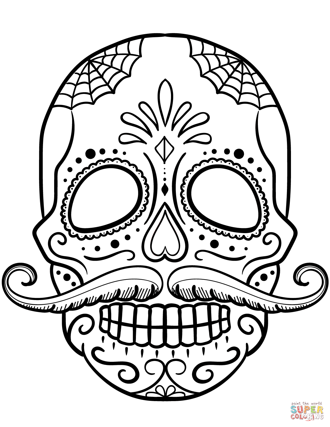 Sugar Skull With Mustache Coloring Page From Sugar Skulls