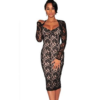 7b3161c83a1 Women's Sexy V-neck Cut-out Back Long Sleeve Sheer Lace Bodycon Midi ...