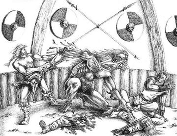 |Beowulf Fighting Grendel Drawing