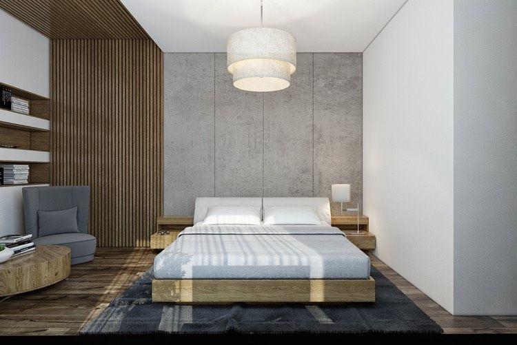 Moderne Schlafzimmergestaltung ~ Moderne schlafzimmergestaltung ideen lamellen wand decke grau