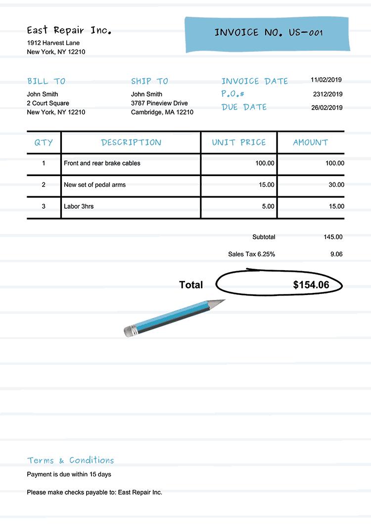 Invoice Template Us Workbook Light Blue Invoice Template Receipt Template Free Receipt Template