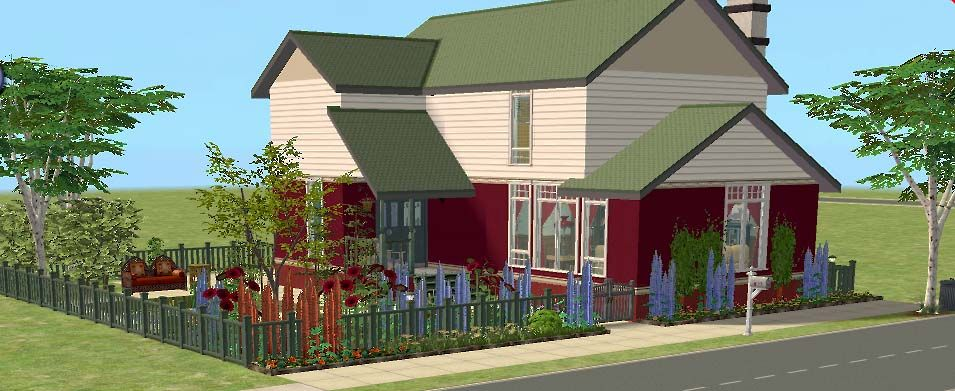 Mod The Sims - 3 Rosewater Lane - Traditional 2 Bed Home, Fully Furnished, No CC.  2BR, 1BA, living room with fireplace, 2nd floor balcony, pond, garden.  Lot Size: 2x2.  Lot Price: $78,416.