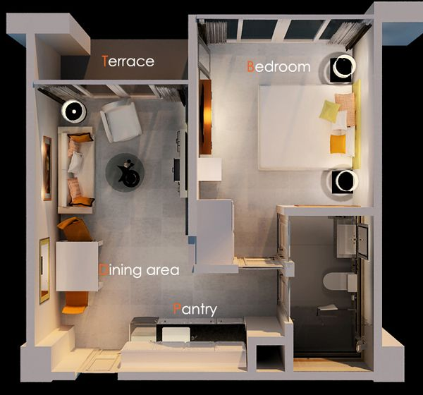 One bedroom house plans 3d google search espacios for Studio apartment design 3d