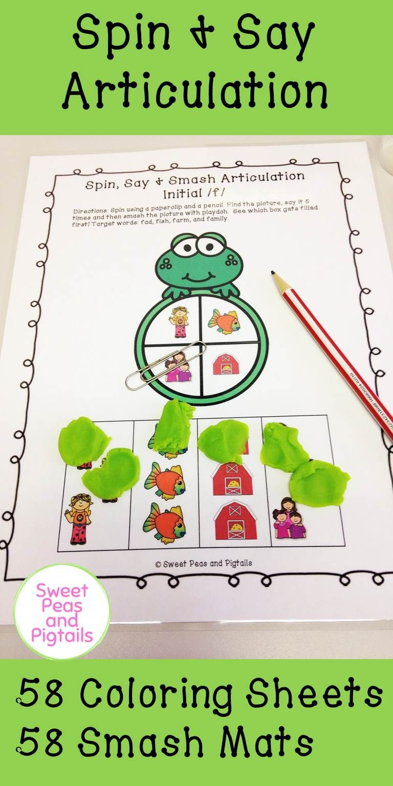 Coloring activities speech therapy - Spin Say Articulation For Speech Therapy Includes 58 Spin Color Sheets And 58