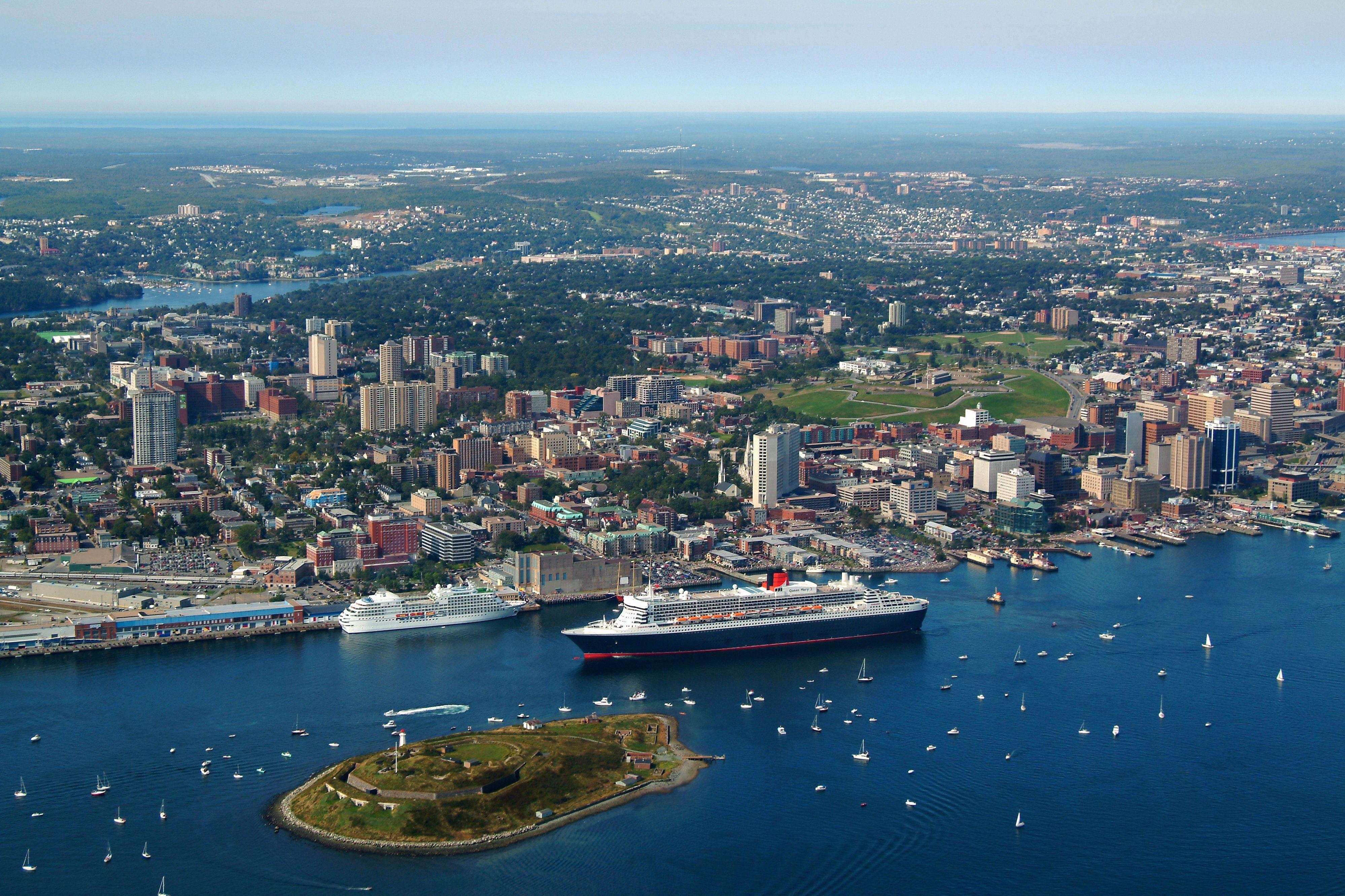 Busy Port Cruise Ships And Sail Boats Halifax Nova Scotia