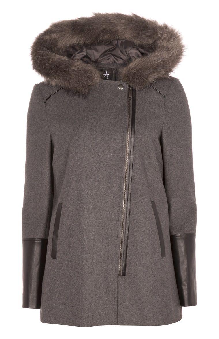 bcd9926e4995 Primark - Manteau motard gris avec fausse fourrure