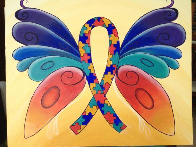 Beautiful Autism Ribbon Painting