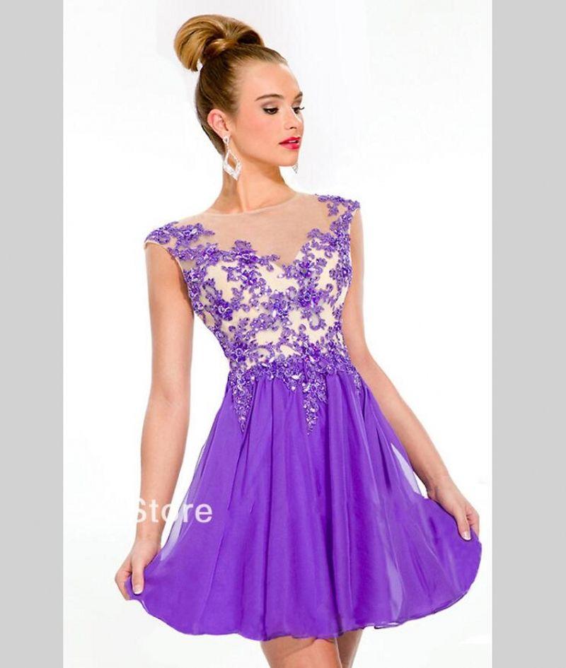 Purple Sexy Short Homecoming Dresses 2016 Chiffon Beaded Semi Formal ...