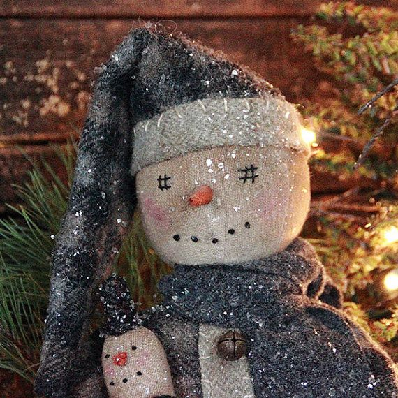 New Country Primitive HELLO WINTER SNOWMAN DOLL LIGHTED WREATH Figure Lights 7/""