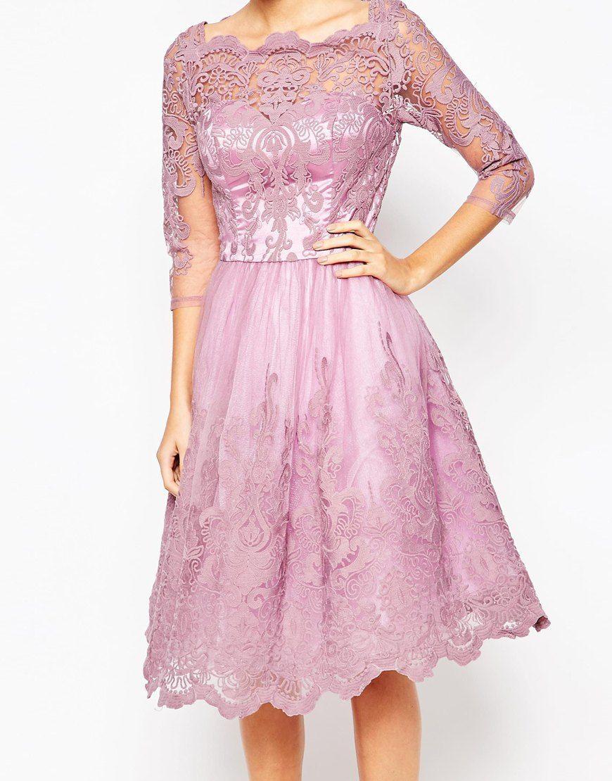 Image 3 of Chi Chi London Premium Lace Midi Prom Dress with Bardot ...