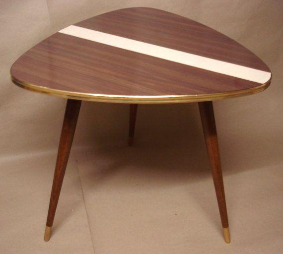Vintage Coffee Table Triangle Tripod 60s Retro Germany Mid Century