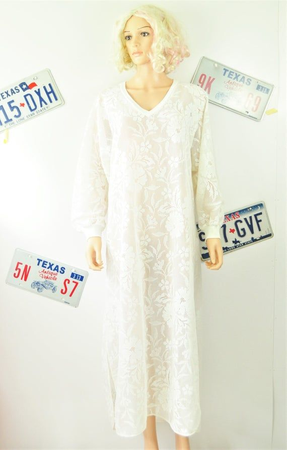 Womens Vintage Swimwear Cover Caftan Nightgown House Dress MuuMuu 80s 70s Sheer White Lace Full Leng #vintageswimwear