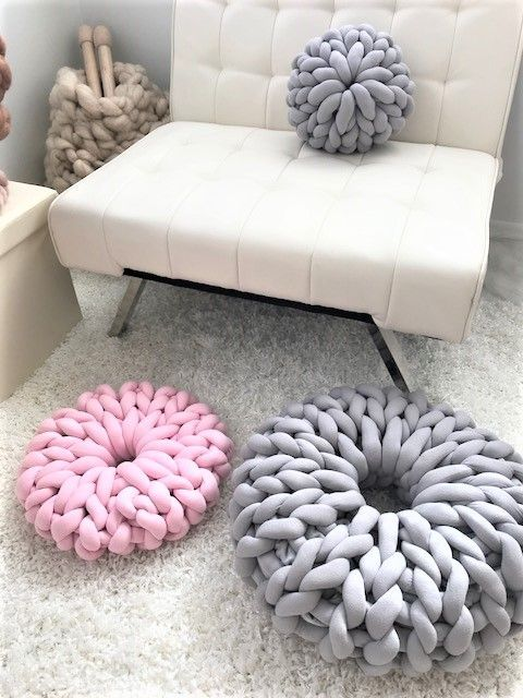 Check out our new product - donut pillow made with chunky cotton tune yarn!