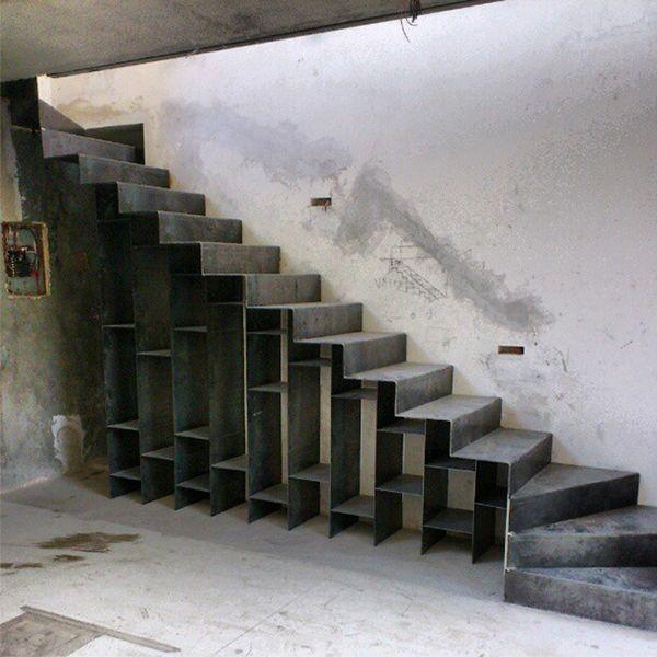 steel stair bookshelf on Behance