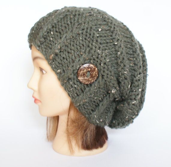 Knitted army green tweed slouchy beanie hat women - irish hat - Slouch  Beanie - chunky hats - Knit Winter Fall Accessories , Slouchy hat