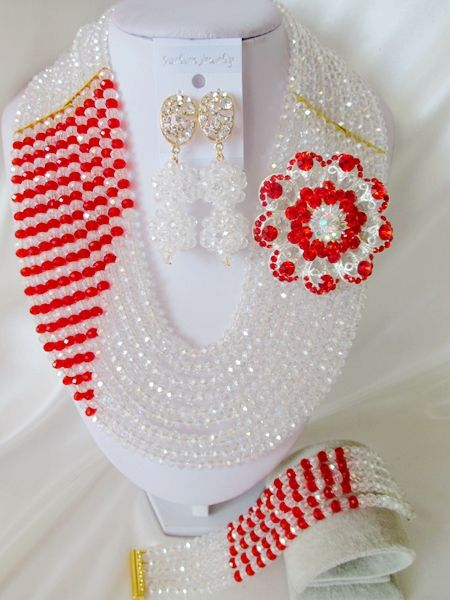 Beautiful Brooches Clear Silver mixed Red Crystal Set Nigerian African Wedding Crystal Beads Jewelry Set Free Shipping CPS606 $58.86