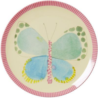 Rice Melamine Round Side Plate - Butterfly Print - Pink Rim