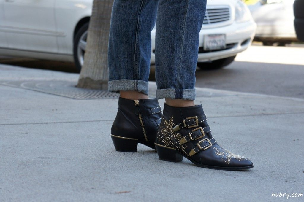 c9211e52 Chloe Susanna gold studded booties - celebrity favorite! How to Wear ...