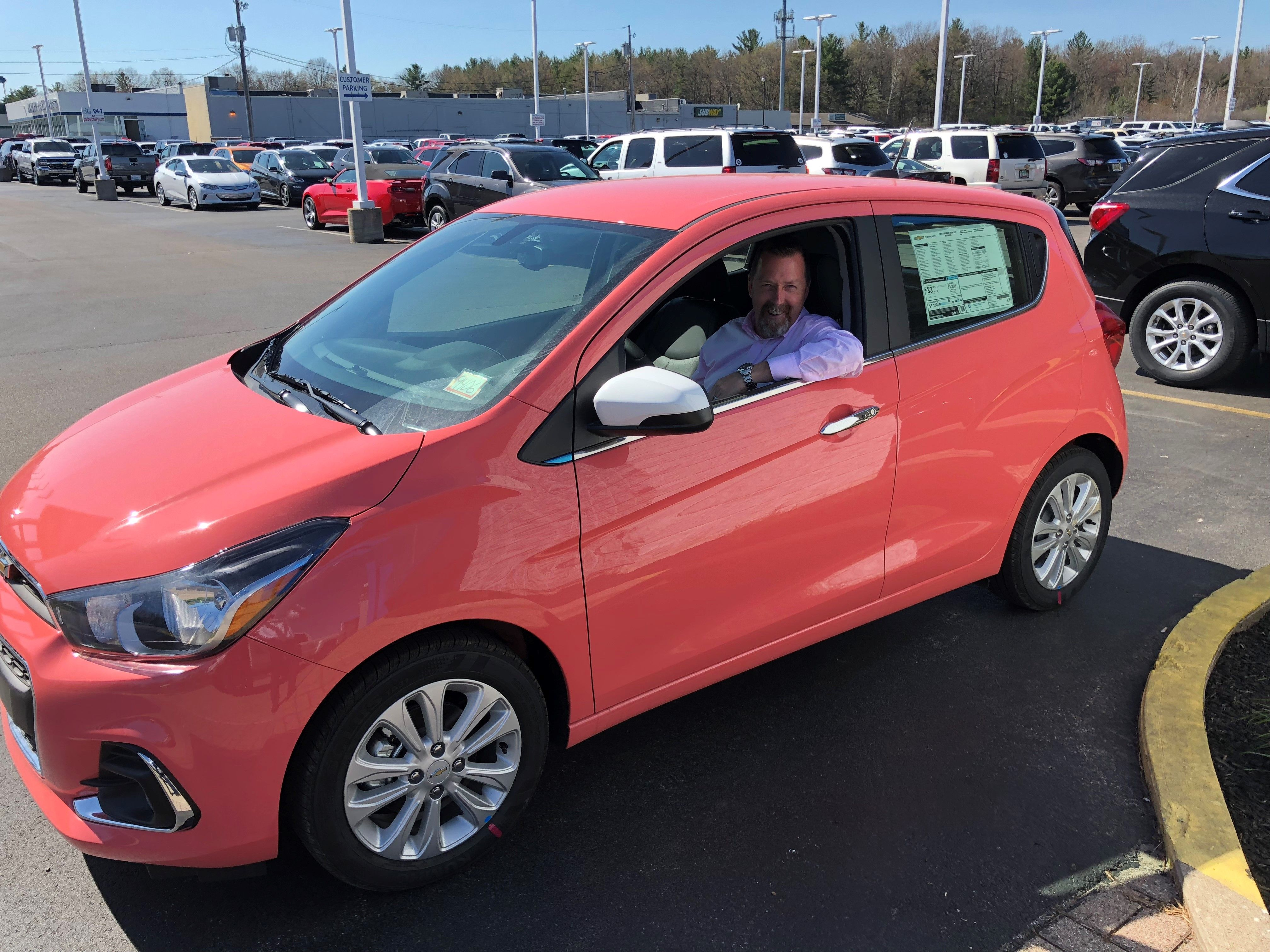 Pink Chevy Spark in Sorbet! Who says cars have to be boring? #pinkcar #Chevrolet #Spark #cutecar #compactcar #pink #funcar