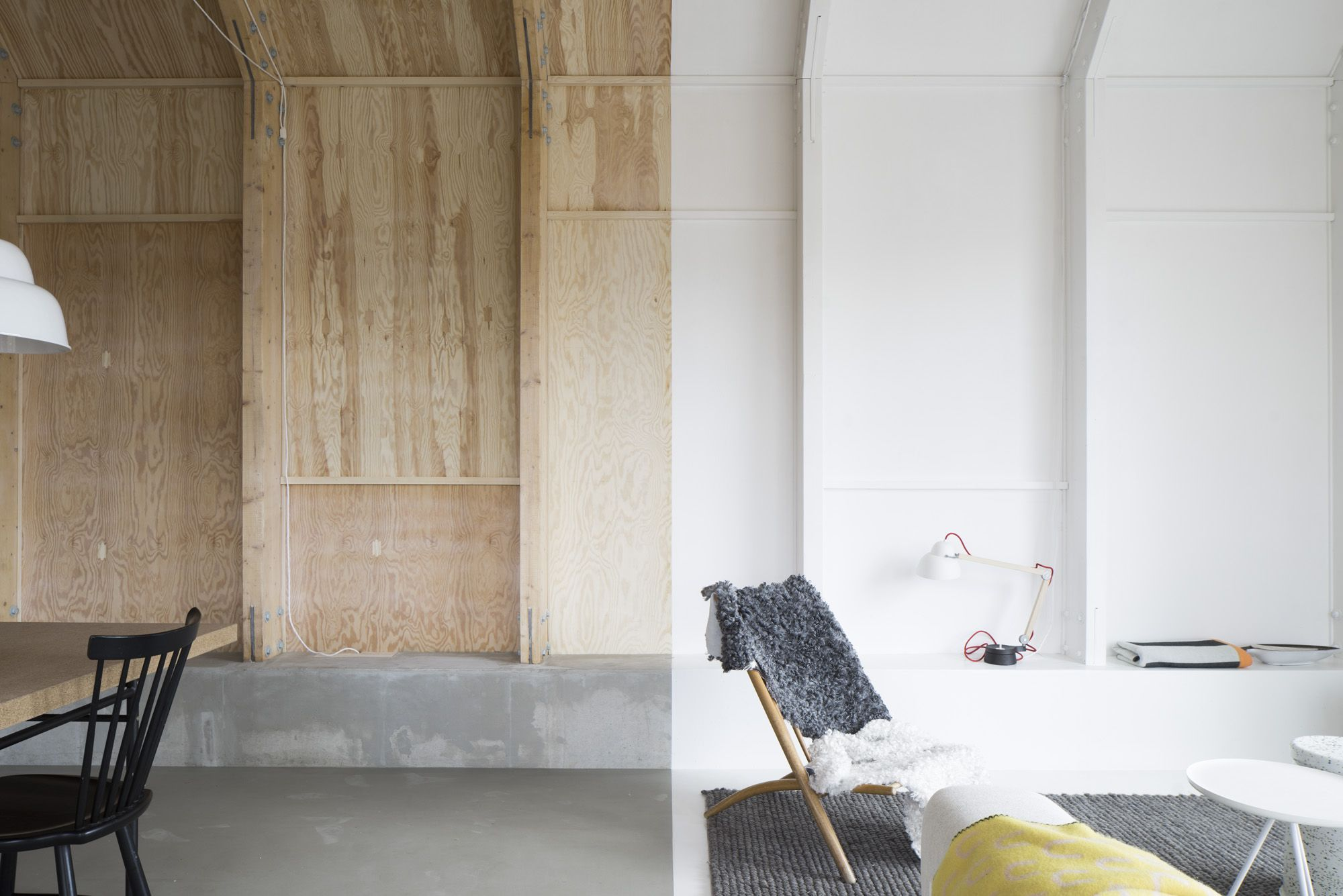 White Painted Plywood Walls
