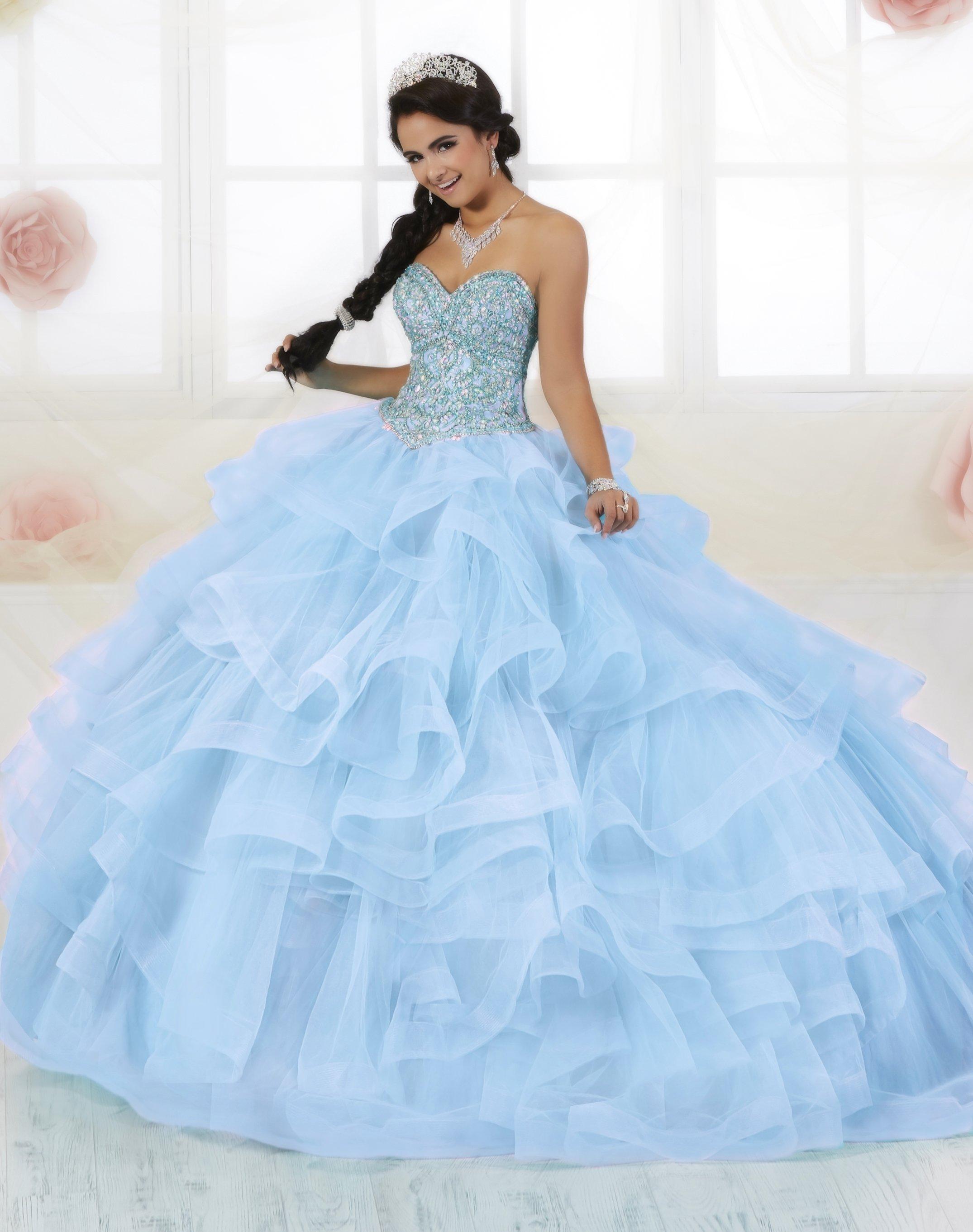 Strapless Ruffled Quinceanera Dress By Fiesta Gowns 56353 Size 14 26 In 2021 Quinceanera Dresses Quinceanera Dresses Blue Ball Gowns [ 2723 x 2150 Pixel ]