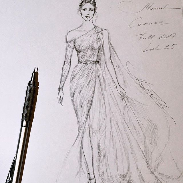 Unfinished Zuhairmurad Couture Handdrawn Sketch Workinprogress Sketching Fashionillustrat Fashion Illustration Sketches Fashion Sketches Fashion Drawing