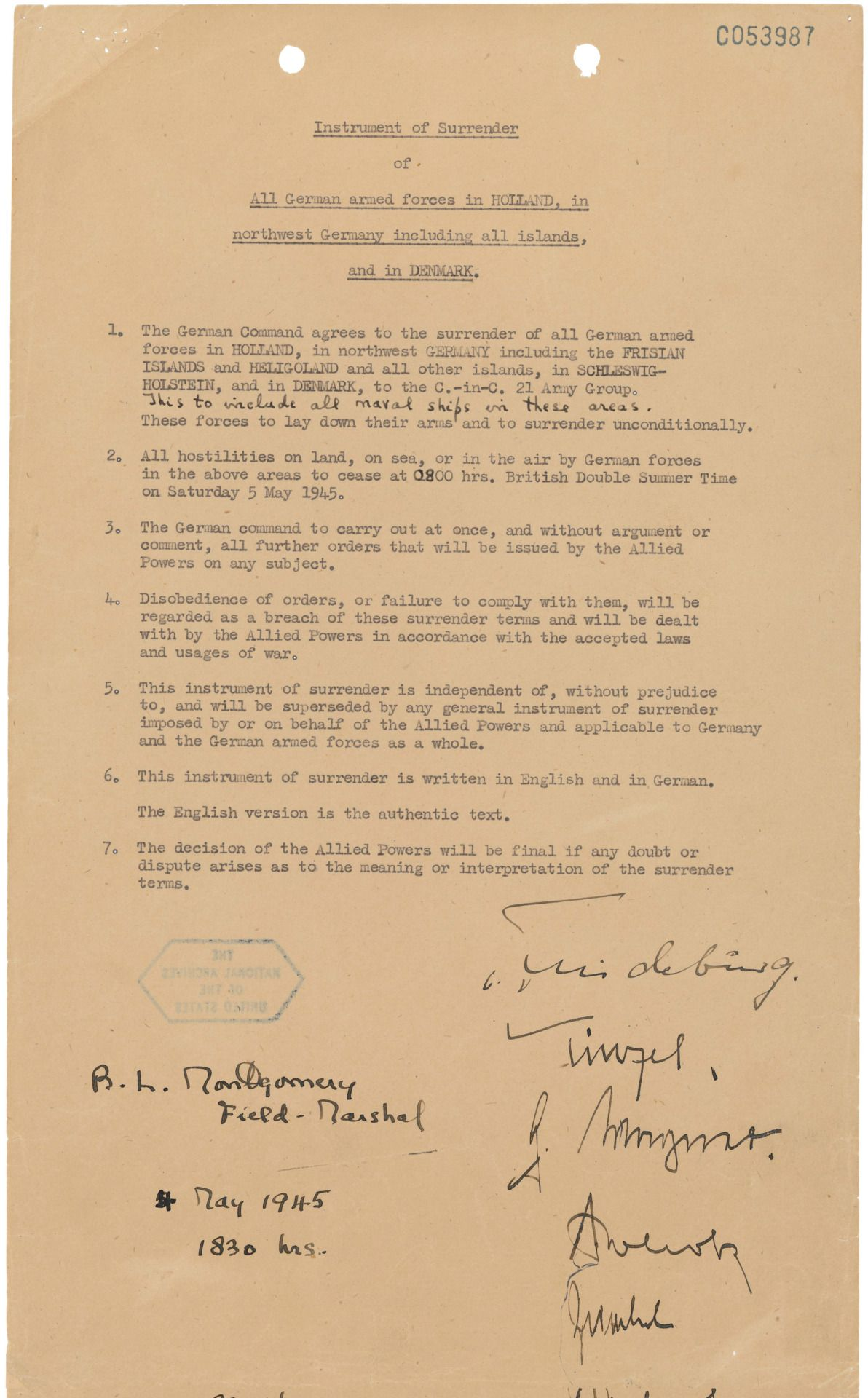 Instrument Of Surrender Of All German Armed Forces In Holland In