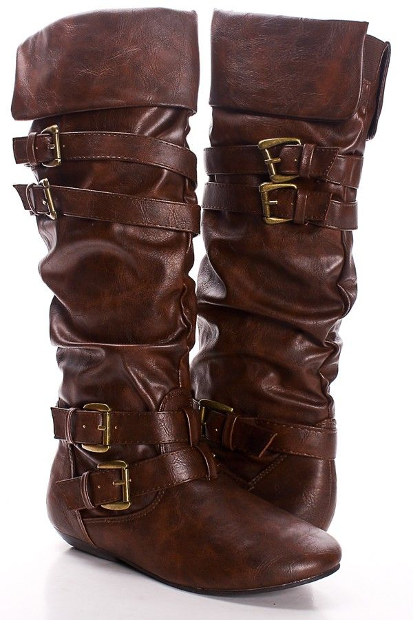 f5a39f12a66 BROWN FAUX LEATHER STRAPPY BUCKLE KNEE HIGH BOOTS