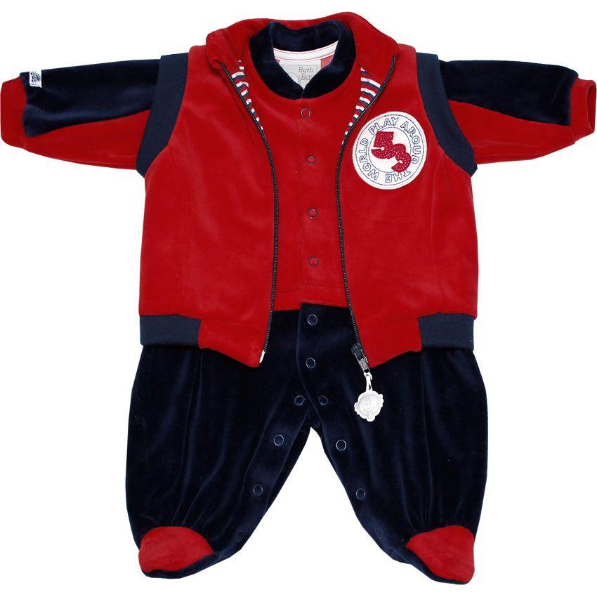 f55b09846e Macacão Recém Nascido e Bebê Menino em Plush com Colete Vermelho - Beth Bebê     764 Kids