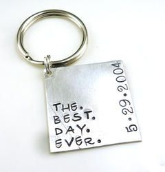 The Best Day Ever Personalized Hand Stamped Keychain