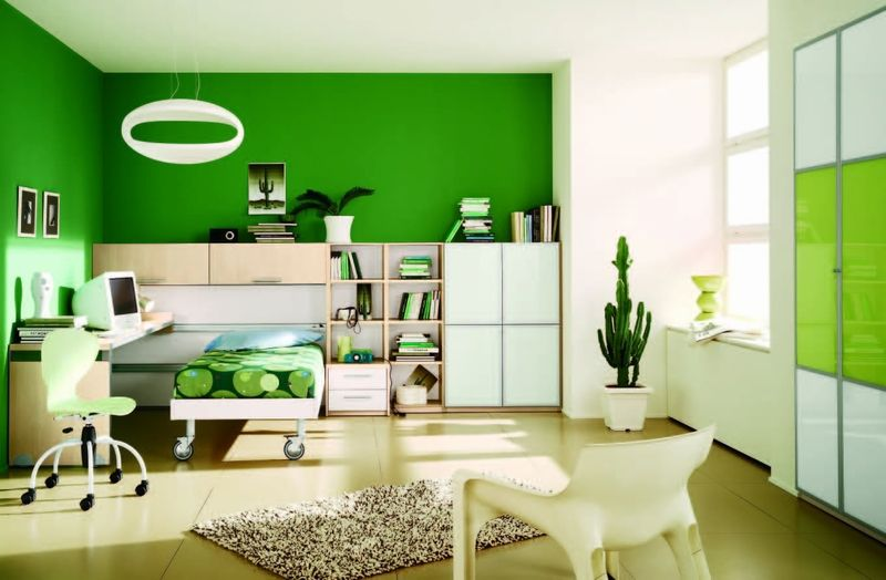green and white rooms Cheerful Kids Room Interior Design with