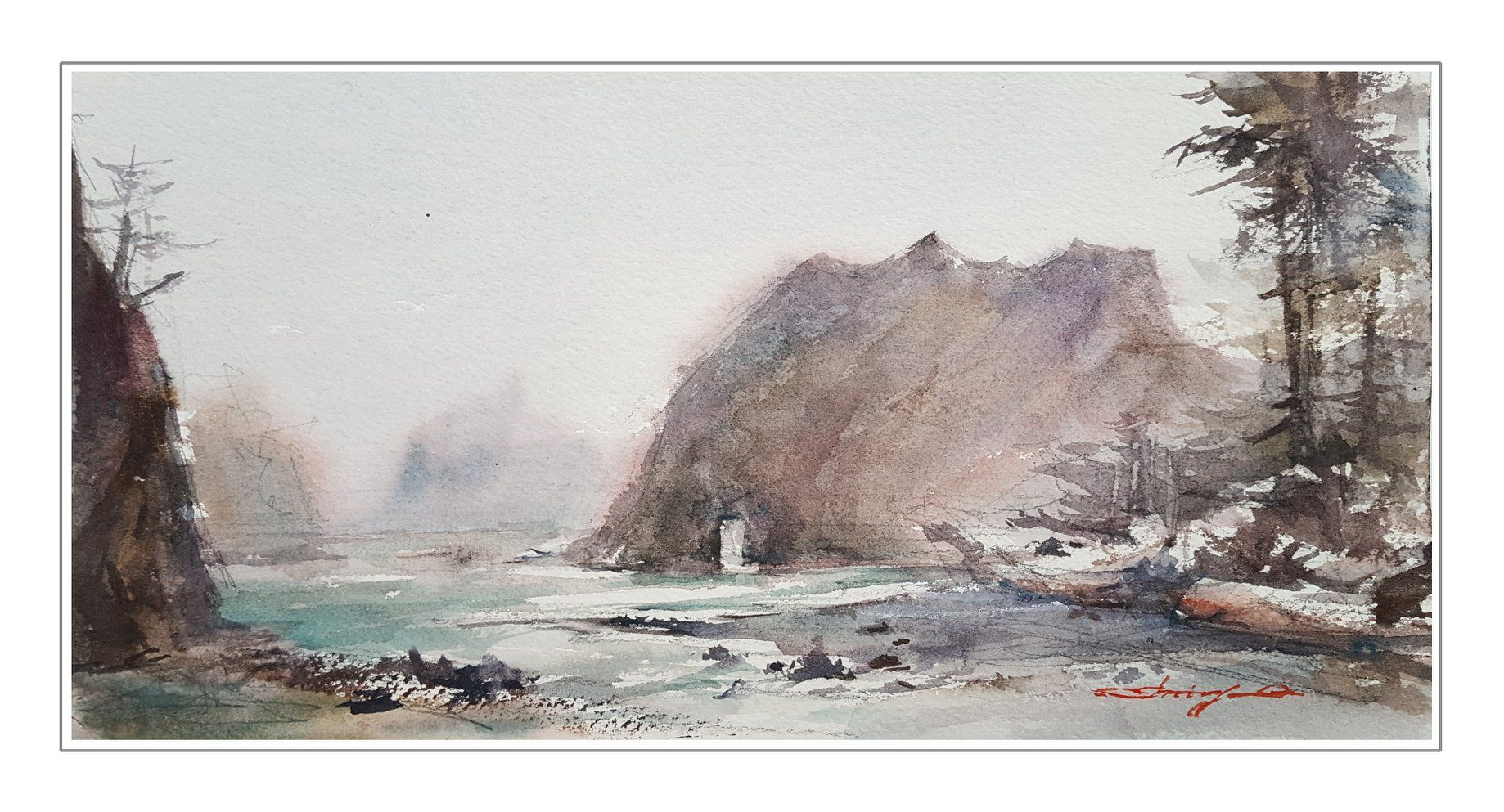 "Shuang Li · ""Near Hole in the Wall, Mora Beach"" 6""x12"
