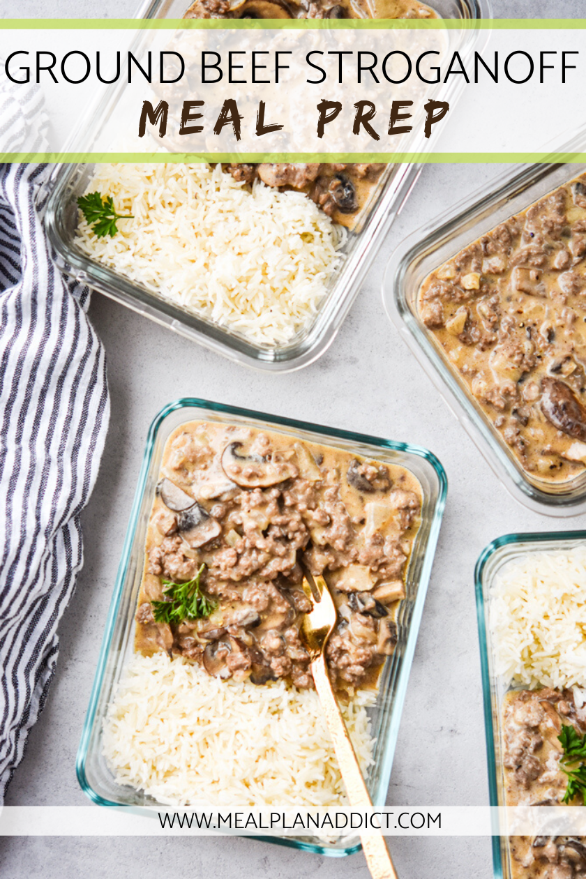 Ground Beef Stroganoff Is Classic Comfort Food Turned Meal Prep Work Week Lunches Ground Beef Stroganoff Beef Stroganoff With Rice Easy Healthy Meal Prep