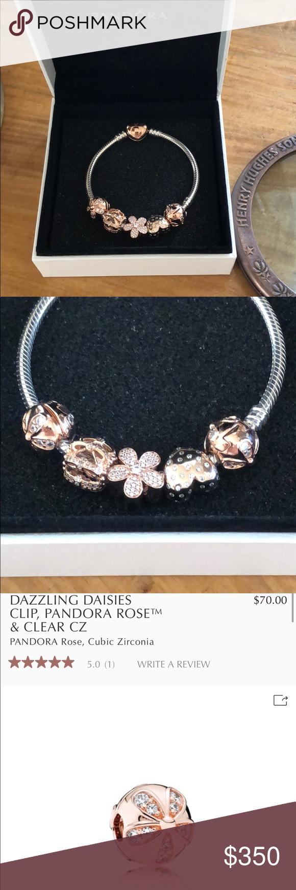 Pandora rose gold bracelet with charms in my posh closet