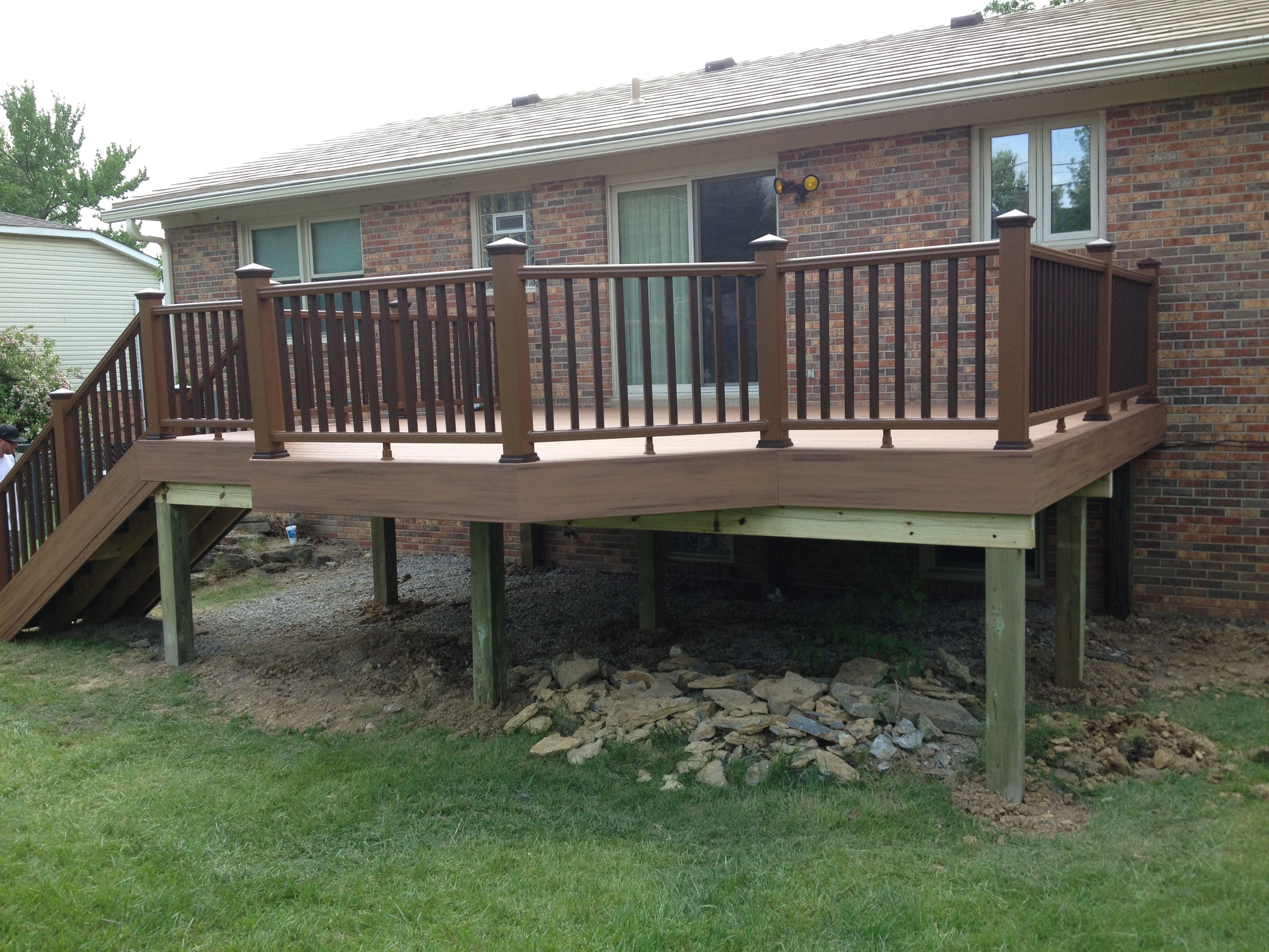 Trex Tiki Torch Deck With A 45 Degree Bump Out For The