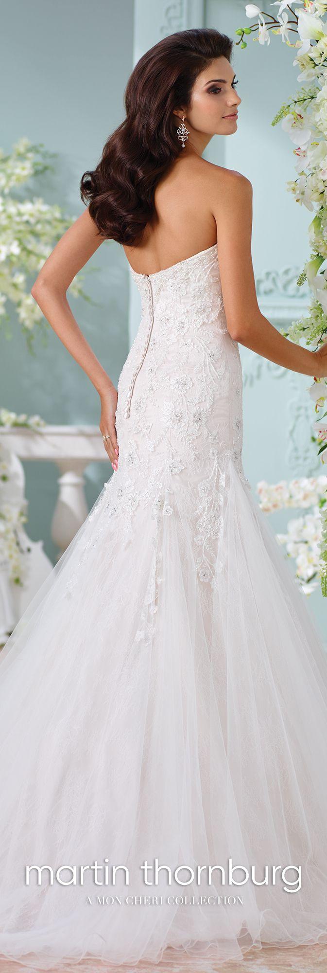 Chantilly lace embroidered trumpet wedding dress lita