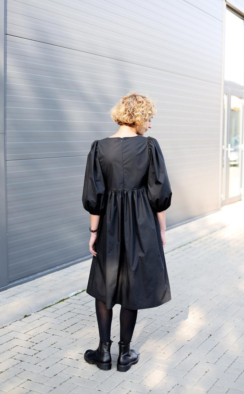 Balloon Sleeve Dress Empire Waist Black Cotton Poplin Dress Offon Clothing In 2021 Balloon Sleeve Dress Poplin Dress Empire Dress [ 1280 x 794 Pixel ]